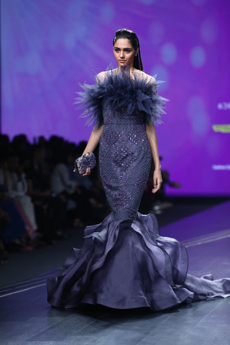 Amit GT - Tanzanite crystal ruffle mermaid gown