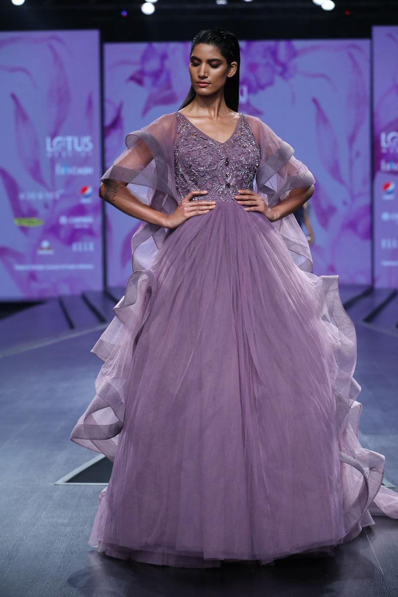 Amit GT - Lavender applique ruffled ball gown by amit gt