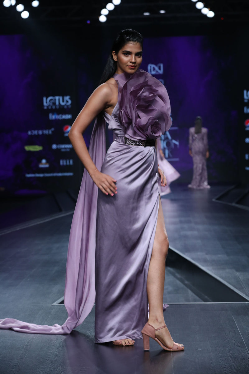 Amit GT - Lavender  pillar gown with floral drape