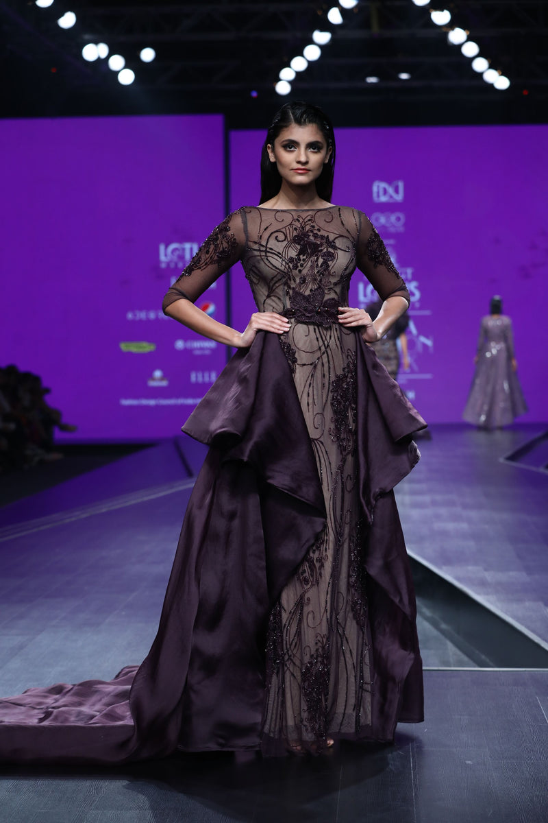 Amit GT - Bordeaux gown with bird motif