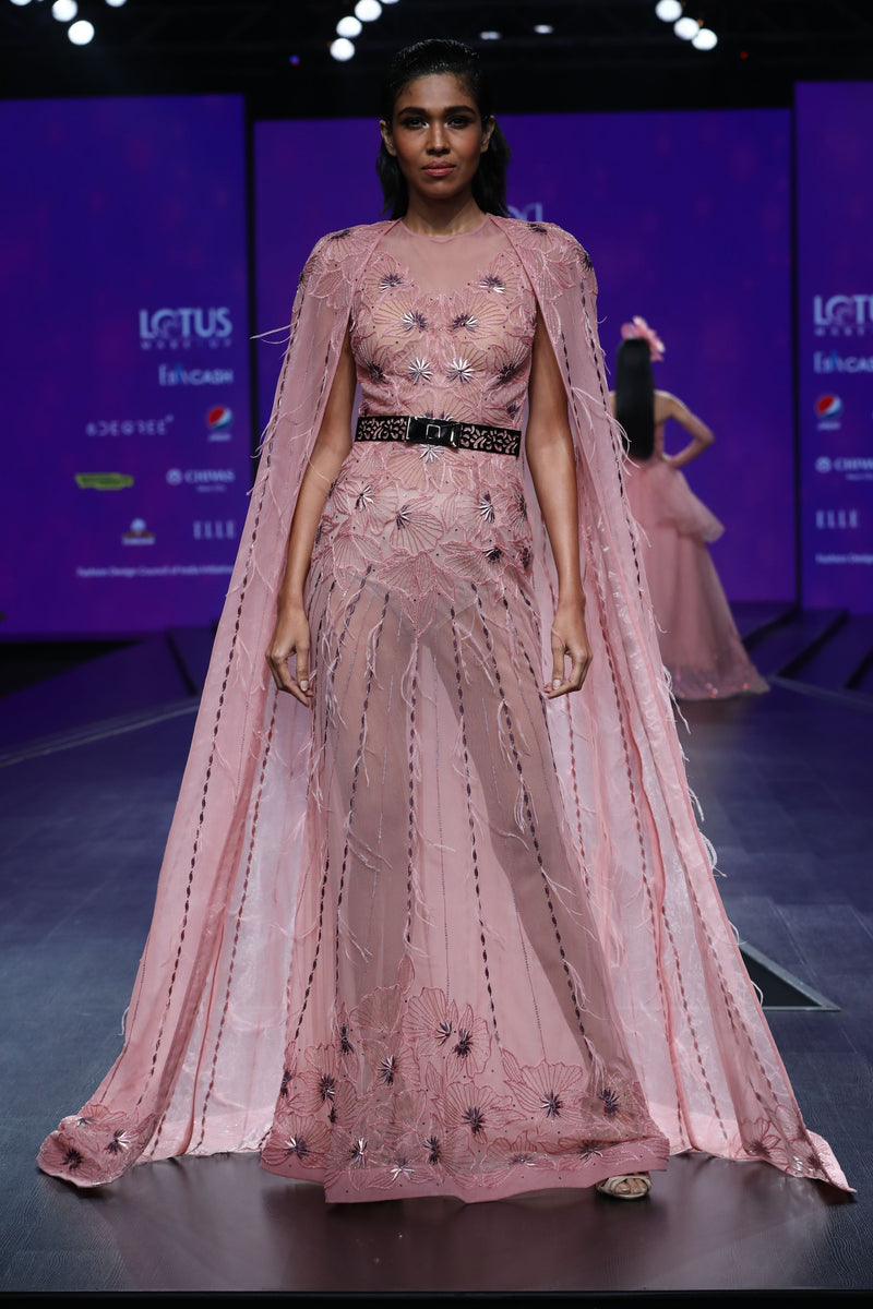 Amit GT - Light pink cape gown with foiled flowers