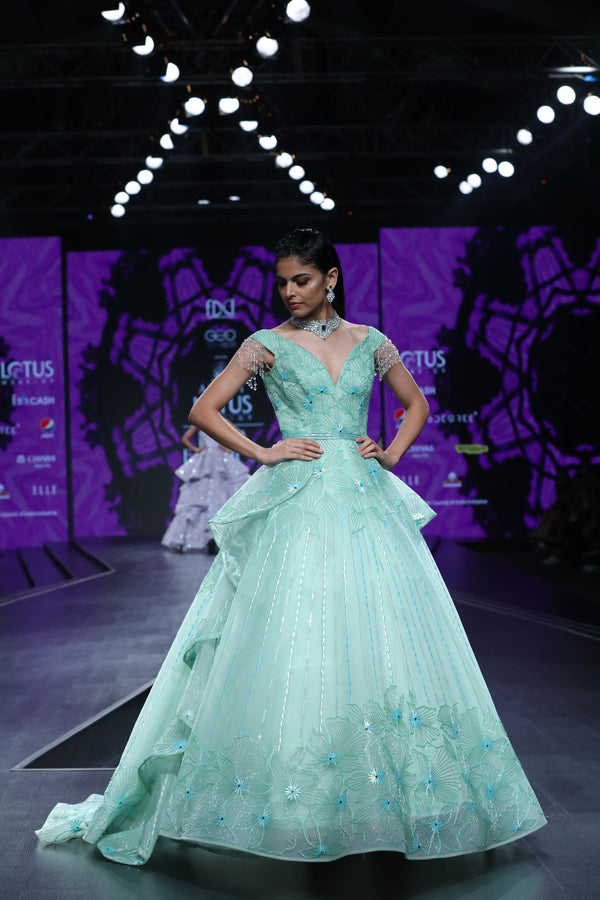Amit GT - Sea green tierd draped ball gown