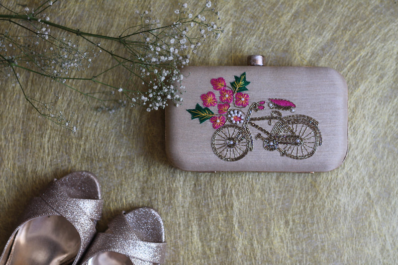 Avanche by Janhavi - Vintage Cycle Hand Embroidered Clutch