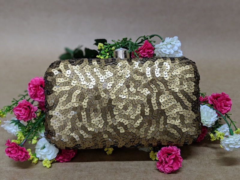 Avanche by Janhavi - Antique Sequin Hand Embroidered Clutch