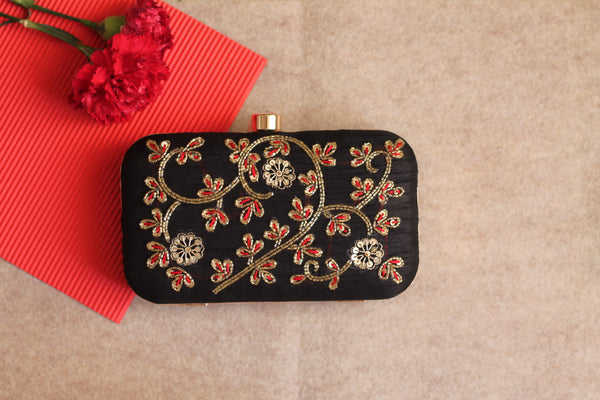 Avanche by Janhavi - Threadwork with Sequin Hand Embroidered Clutch