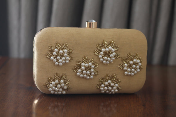 Avanche by Janhavi - Pearl Detailing with Sequin Hand Embroidered Clutch