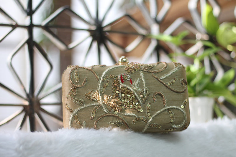 Avanche by Janhavi - Parrot Motif Hand Embroidered Clutch
