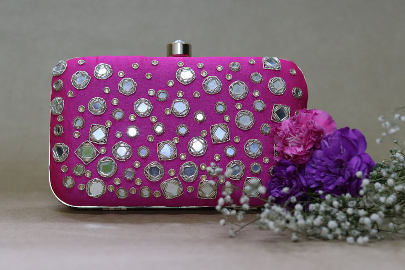 Avanche by Janhavi -Mirror Work Hand Embroidered Clutch