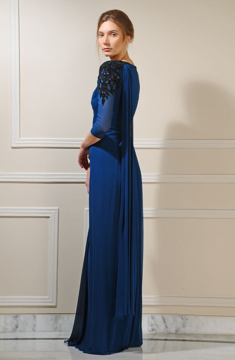 Full sleeved silk georgette gown
