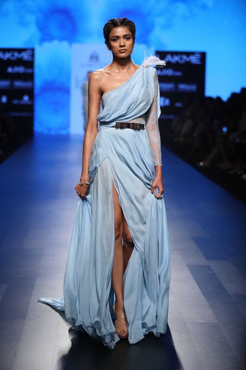 Amit GT - Light blue chiffon saree gown