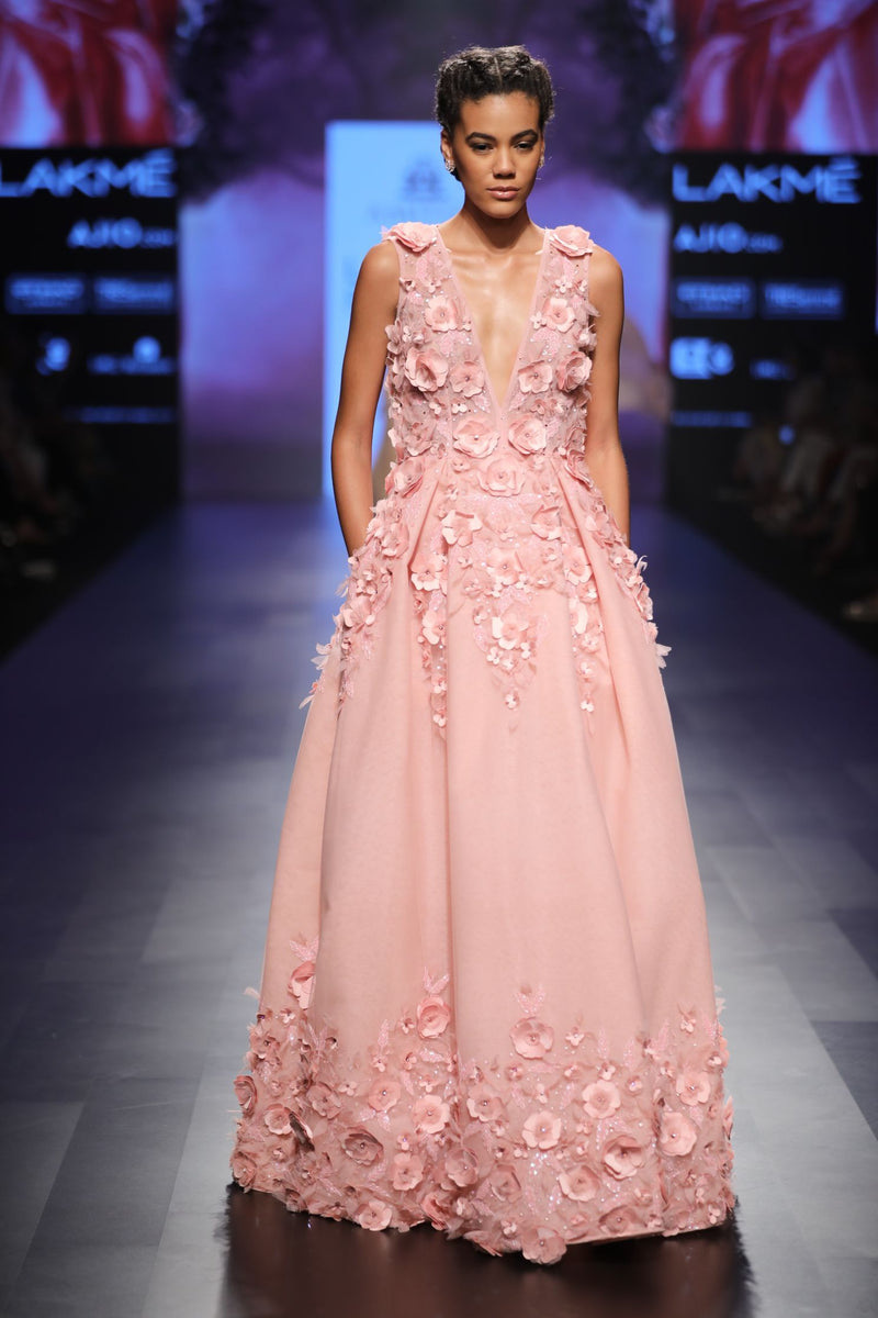 Amit GT - Pink ball gown with 3d flowers