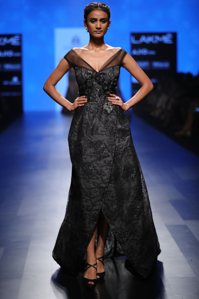 Amit GT - Black lace mullet gown