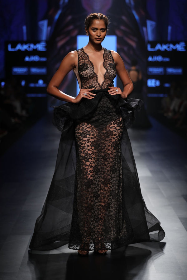 Amit GT - Black lace gown with peplum