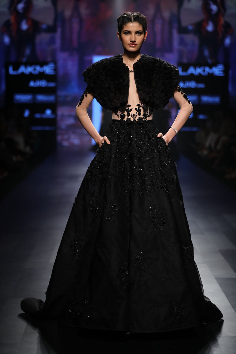 Amit GT - Black ball gown with feathers