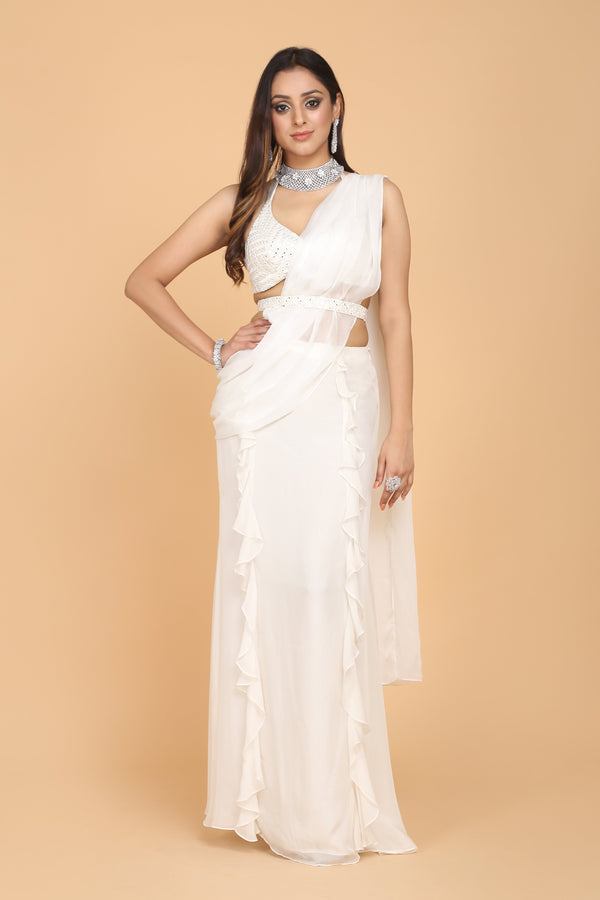 Amit GT - White Draped Concept Saree Gown