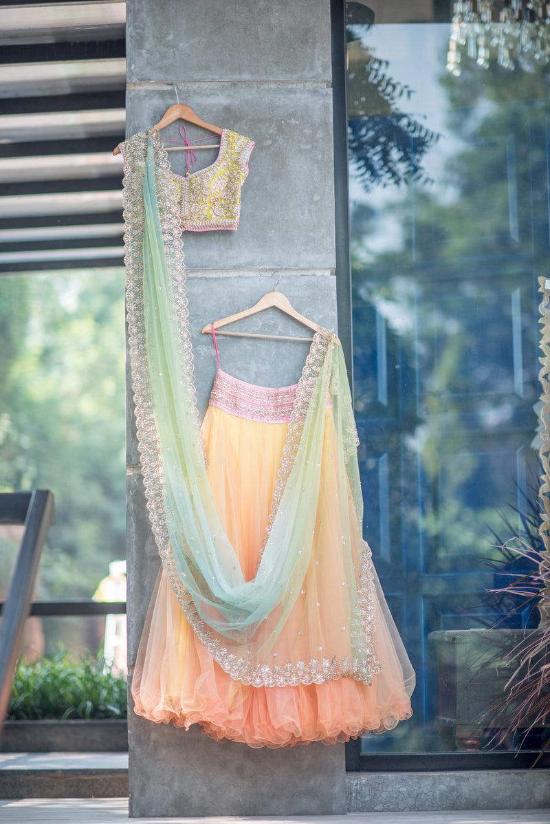 Anushree Reddy - Yellow Blouse with Organza Lehenga and Sea Green Net Dupatta