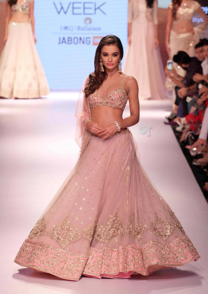 Anushree Reddy - Light Pink Lehenga with Zardosi and Sequins Work