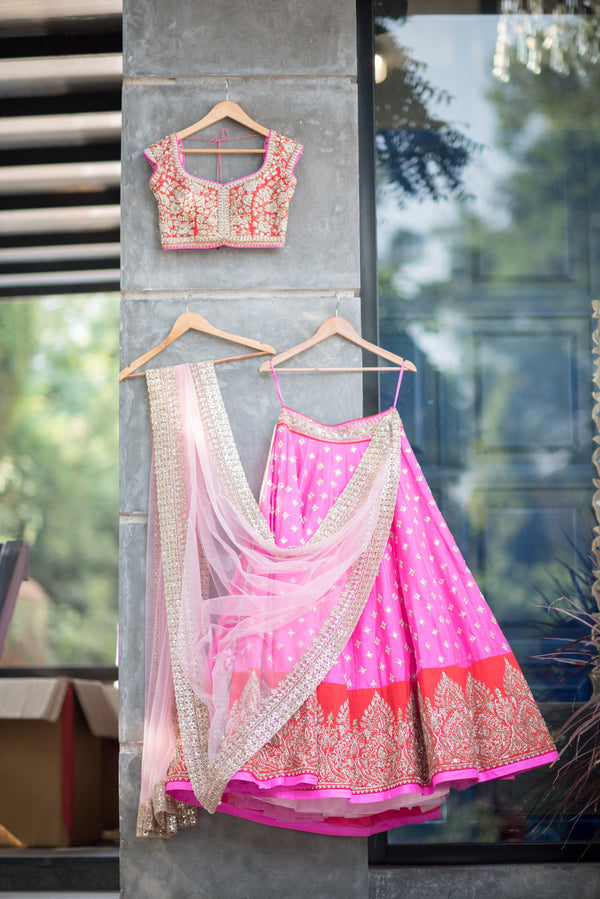 Anushree Reddy - Red Blouse And Pink Lehenga with Net Dupatta
