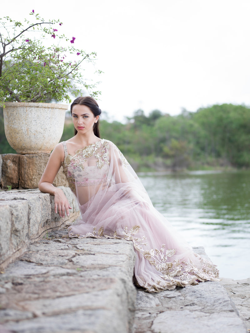 Anushree Reddy - Quest For Gold Light Pink Saree