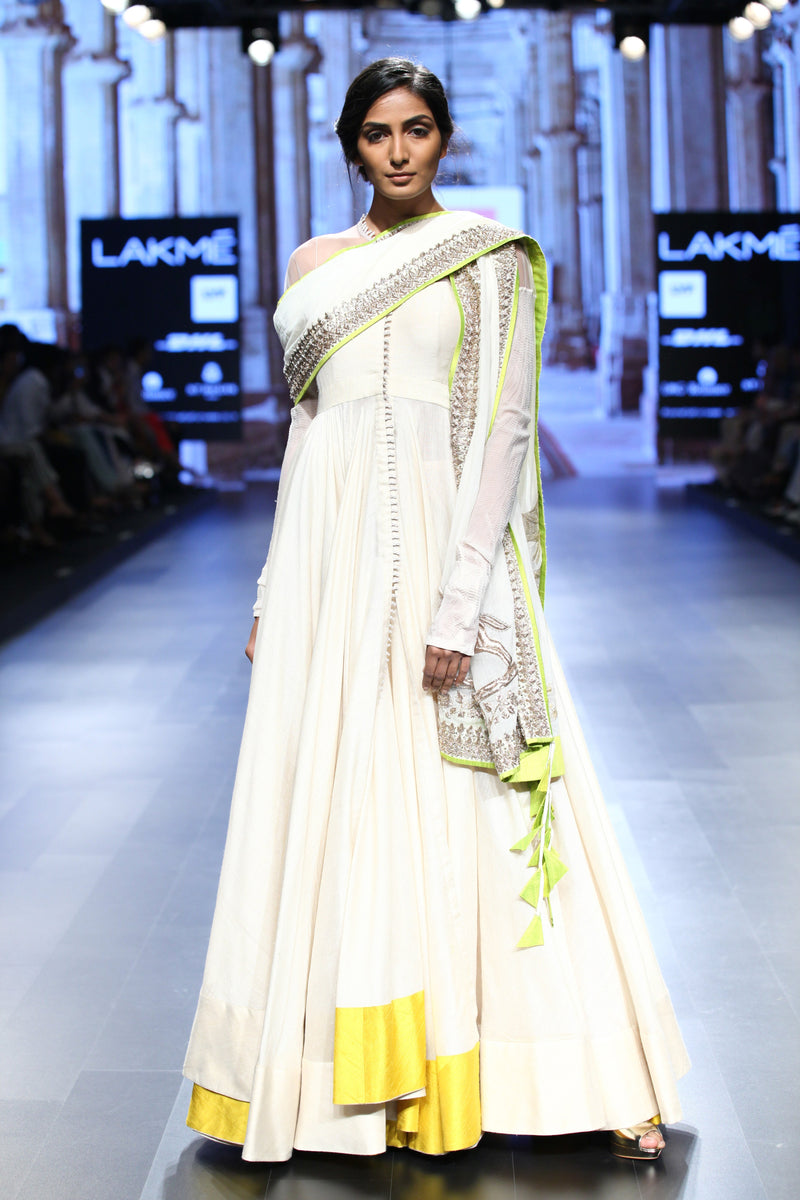 Anushree Reddy - Off-white Front open Anarkali