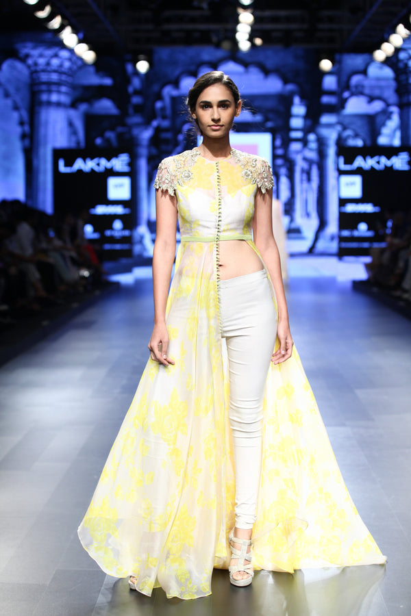 Anushree Reddy - Ivory Yellow Print Tunic