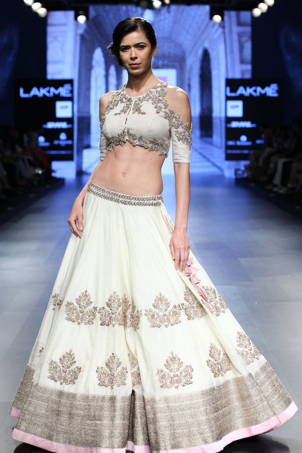Anushree Reddy - Off-white Cut-work Lehenga