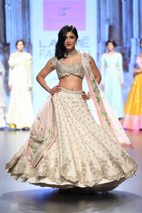Anushree Reddy - Off-white Cut-work Lehenga with Printed Dupatta