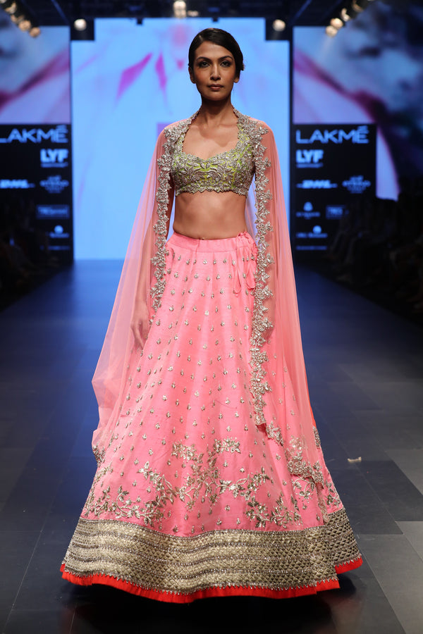 Anushree Reddy - Peach Lehenga With Chutney Green Cut Work Blouse
