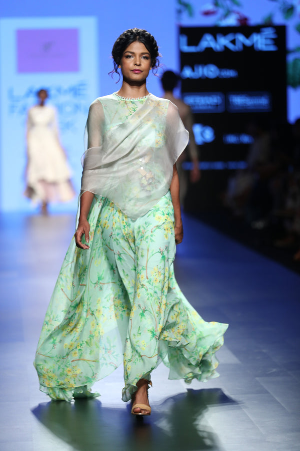 Anushree Reddy - Sea green floral chiffon draped gown
