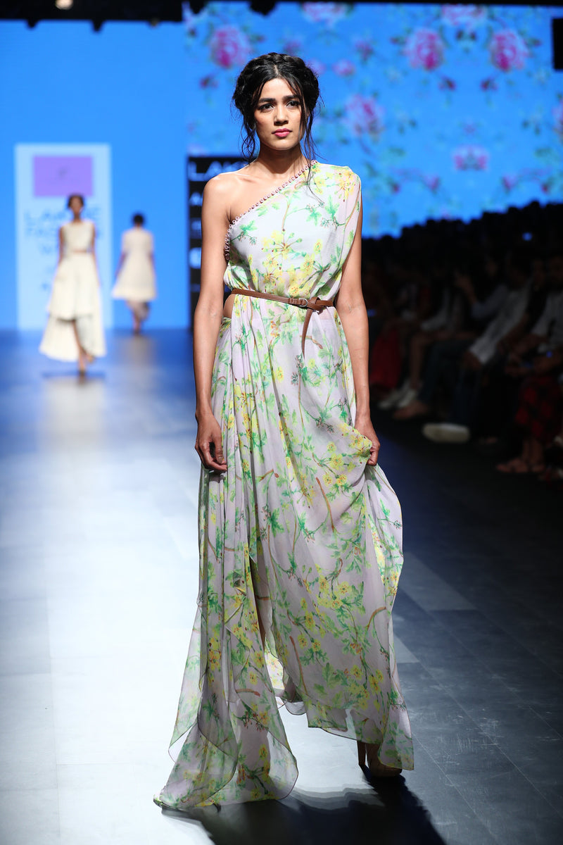 Anushree Reddy - Blue floral off-shoulder drape dress