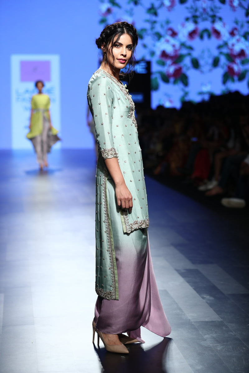 Anushree Reddy - Mint green silk kurta with shaded draped skirt