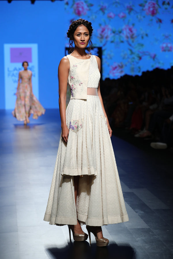 Anushree Reddy - Off-white cotton asymmetric tunic