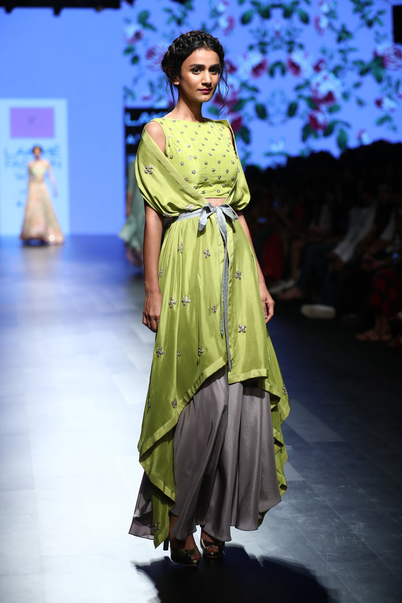 Anushree Reddy - Green cape with crop top and grey pants