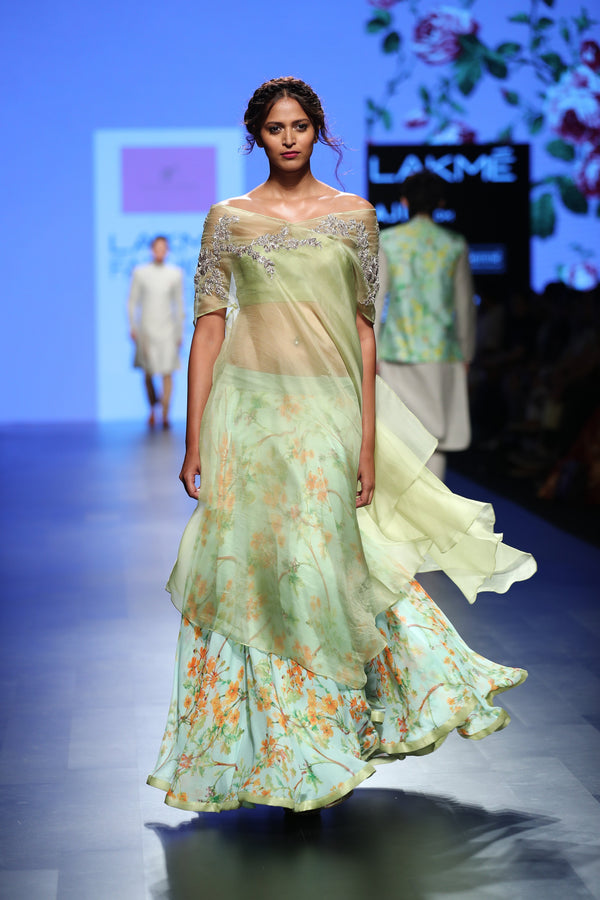 Anushree Reddy - Sea green floral skirt with embroidered cape and bustier