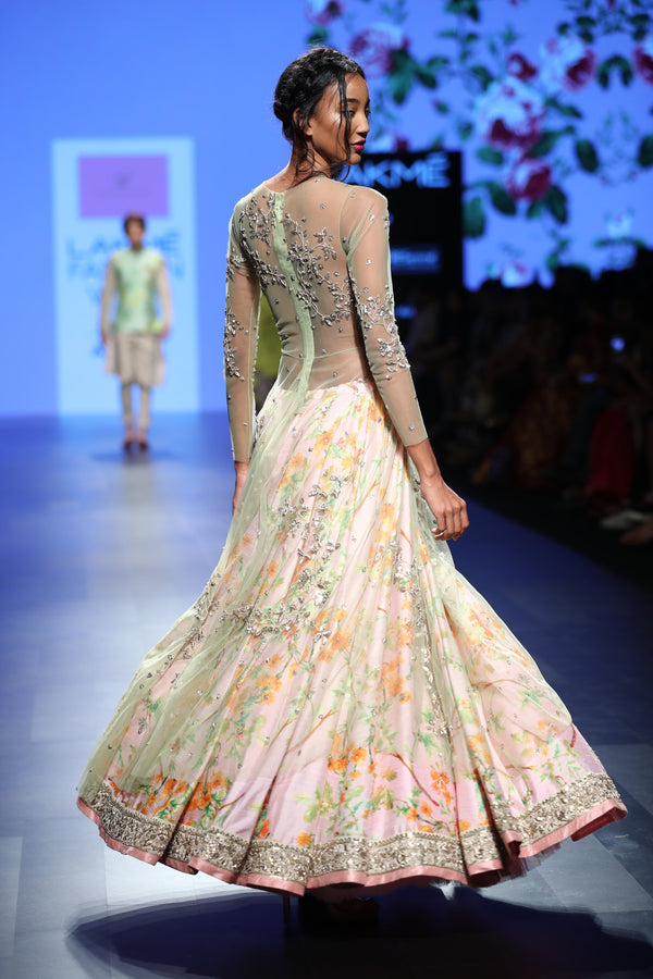 Anushree Reddy - Pink floral lehenga with embroidered jacket