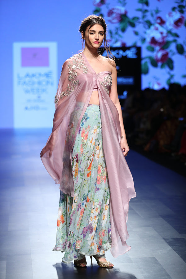Anushree Reddy - Blue chiffon floral pants with lavender embroidered cape