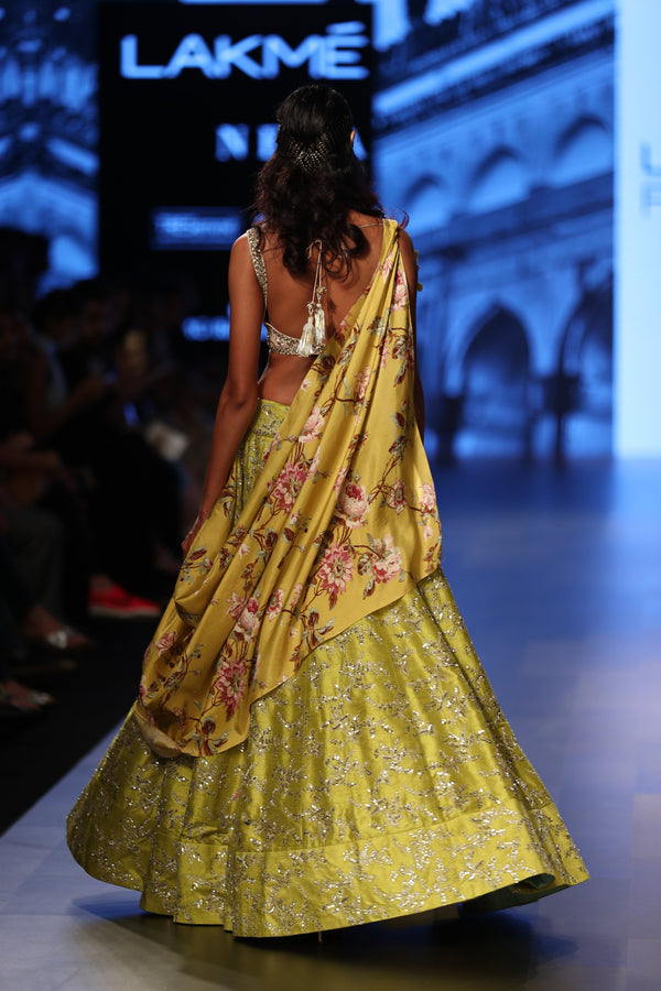 Anushree Reddy - Embroidered yellow lehenga with a floral dupatta