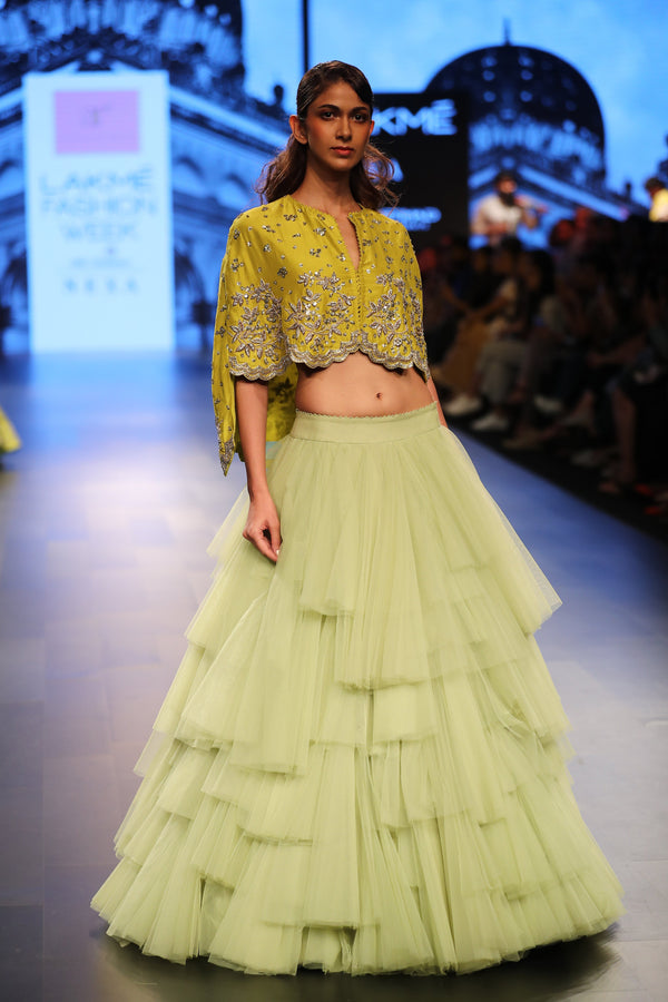 Anushree Reddy - Pastel net lehenga with ochre croped blouse