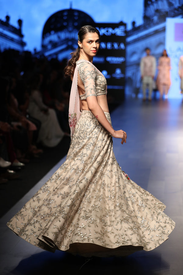 Anushree Reddy - Peach lehenga with floral dupatta
