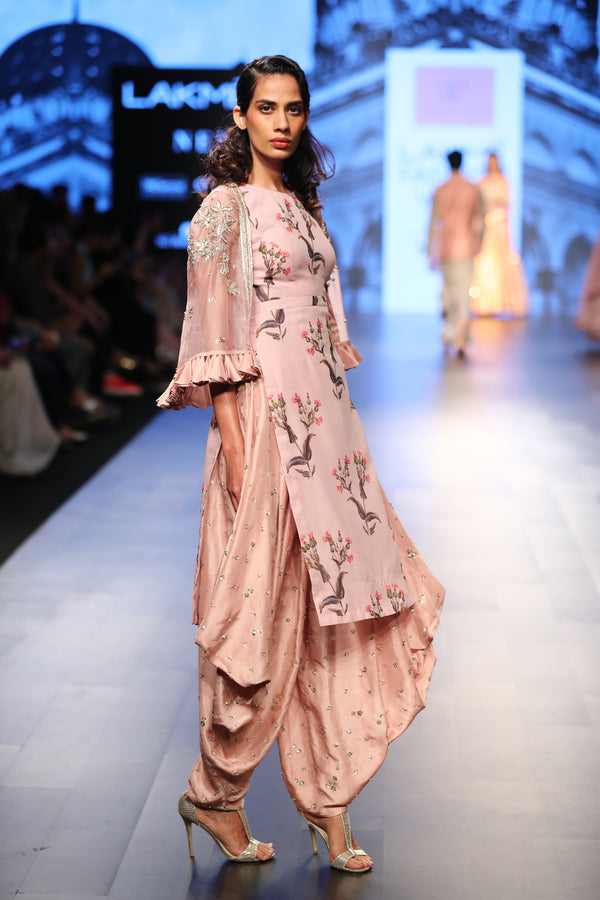 Anushree Reddy - Floral printed kurta with cowl pants