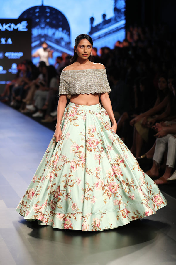 Anushree Reddy - Off shoulder with printed lehenga