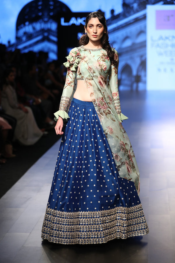 Anushree Reddy - Royal blue lehenga with floral blouse