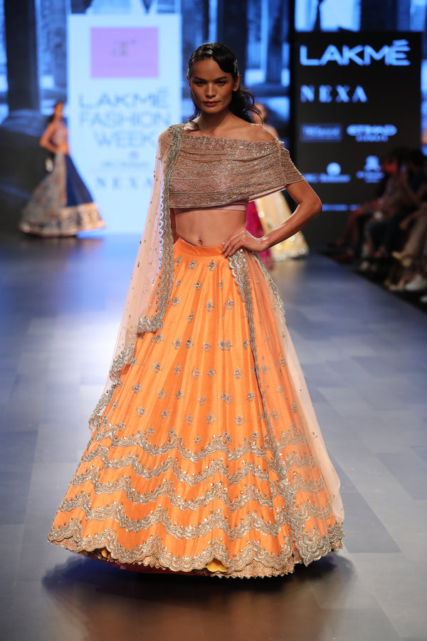 Anushree Reddy - Embroidered orange lehenga