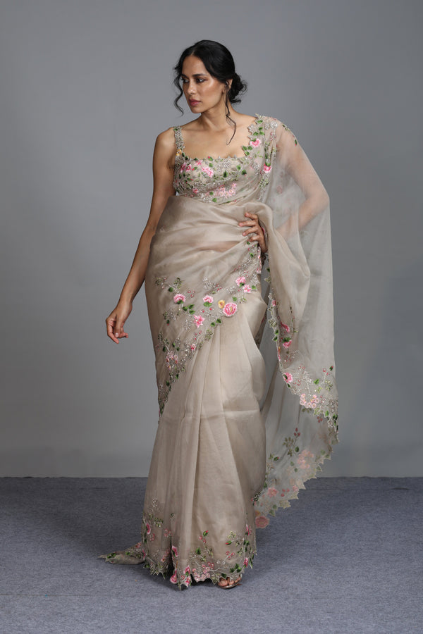 Anushree Reddy - Firdause - Ivory Organza Saree With Sleevless Blouse