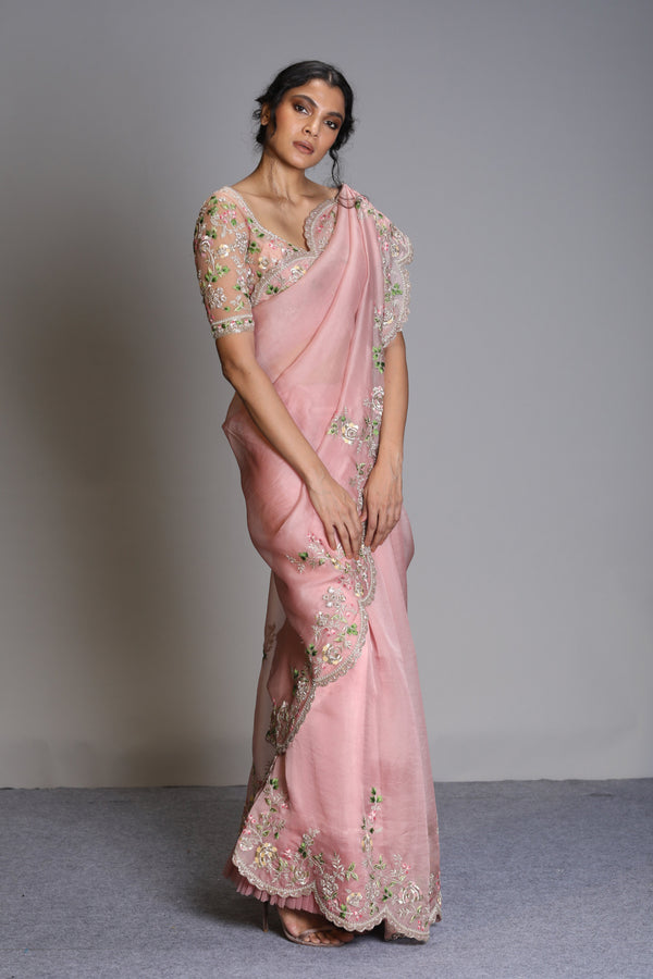 Anushree Reddy - Shamam - Dusty Rose Organza Saree with Embroidered Blouse