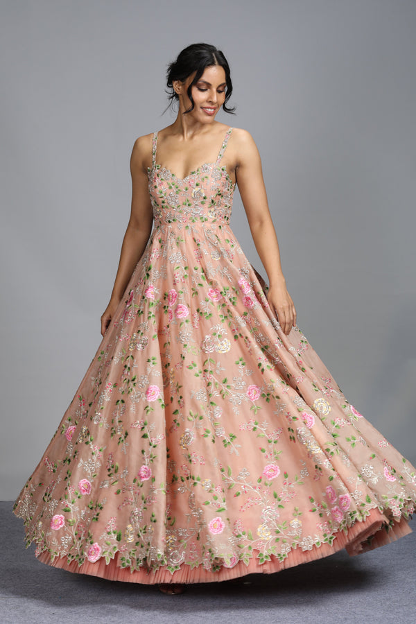 Anushree Reddy - Rooh Gulab - Blush Pink Organza Floral Embroidered Gown