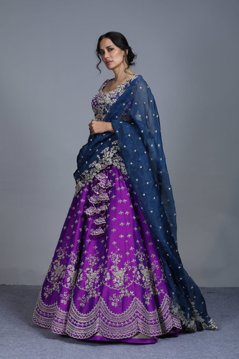 Anushree Reddy - Kaikasha - Purple Raw Silk Embroidered Lehenga Set