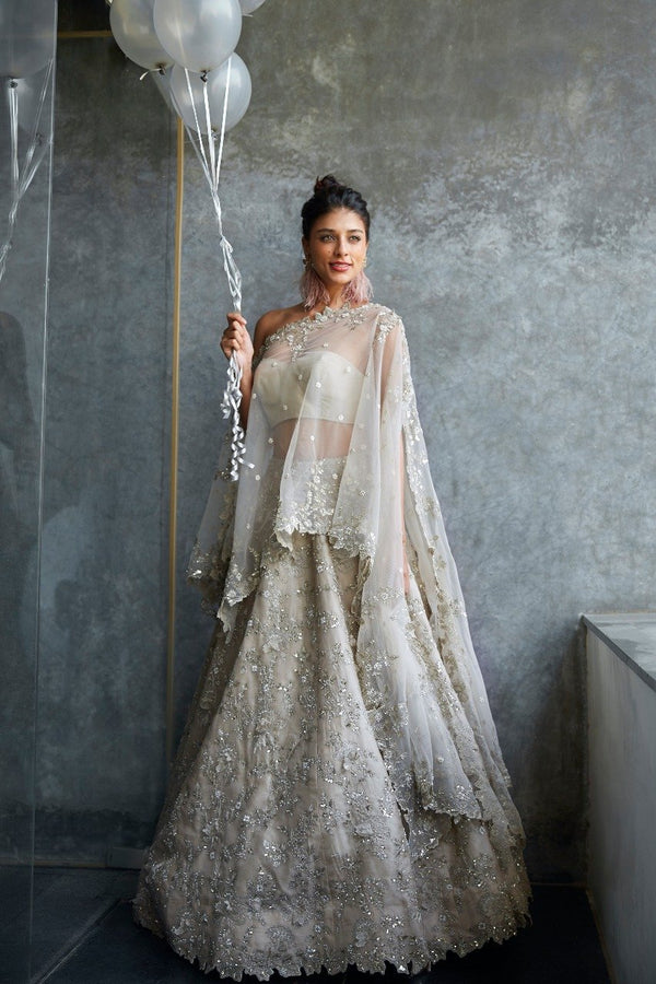 Anushree Reddy - Ivory Hand Embroidered Lehenga Set