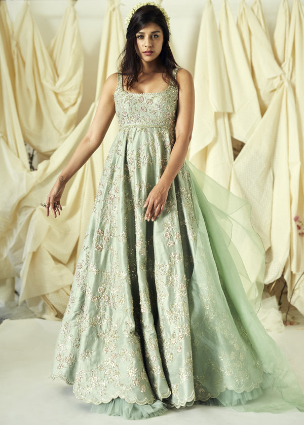 Anushree Reddy - Raw silk sequin embroidered luxe gown
