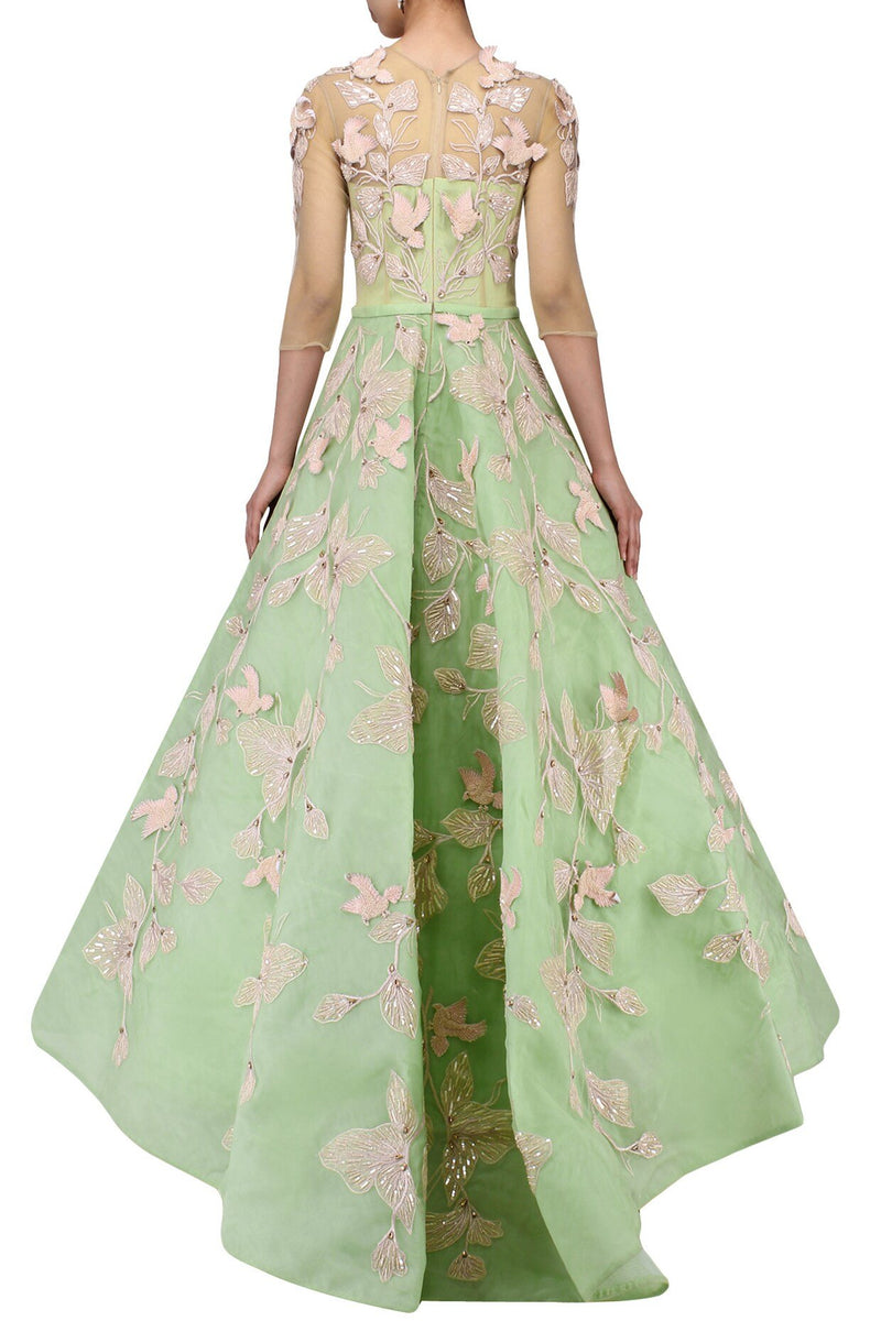 Amit GT - Sea green embroidered ball gown